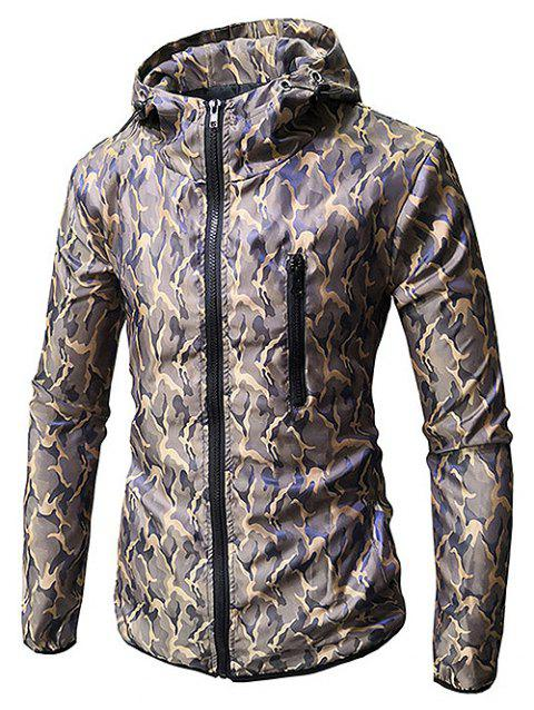 Hooded Zip Up Camo Coat - LIGHT KHAKI M