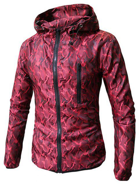 Hooded Zip Up Camo Coat - RED 3XL