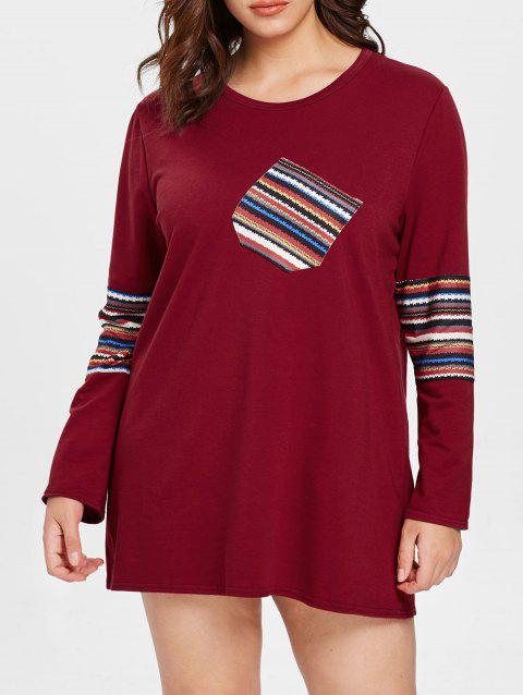Rainbow Striped Plus Size Long Sleeve T-shirt - RED 1X