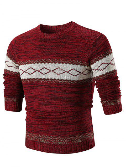 Crew Neck Geometric Print Sweater - RED 2XL