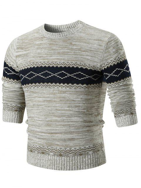Crew Neck Geometric Print Sweater - KHAKI L