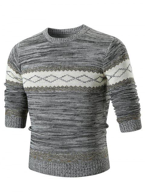 Crew Neck Geometric Print Sweater - GRAY 3XL