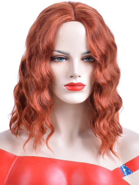 Medium Center Parting Wavy Party Heat Resistant Synthetic Wig - BRIGHT ORANGE
