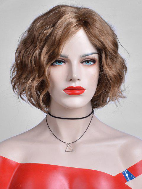 Inclined Bang Capless Short Wavy Synthetic Wig - LIGHT BROWN