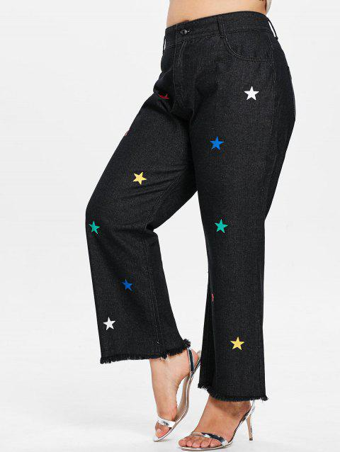 Plus Size Star Patch Raw Hem Jeans - BLACK 3X