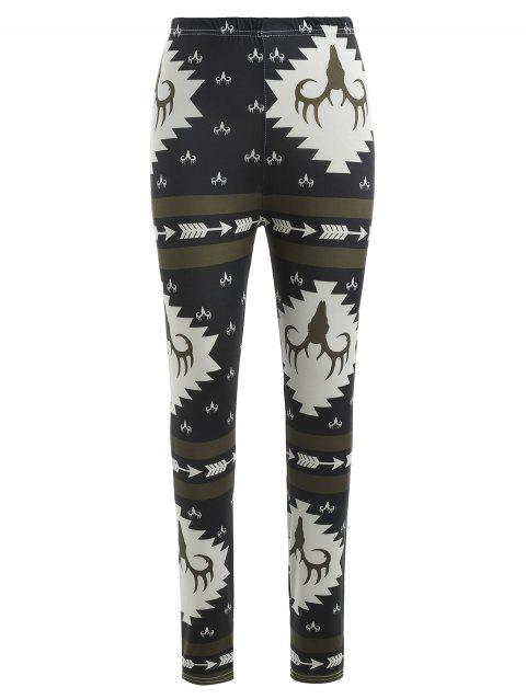 Deer Print High Waist Pants - multicolor M