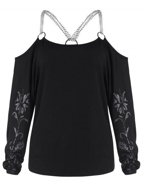 Open Shoulder Chains Printed Tee - BLACK M