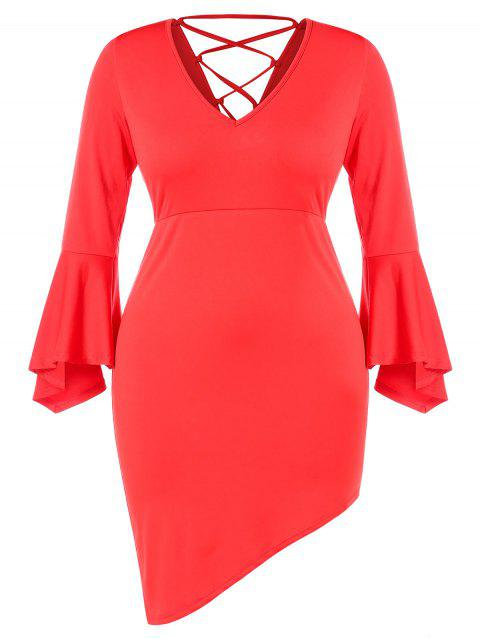 Plus Size V Neck Lace Up Bell Sleeves Asymmetric Dress - LOVE RED 3X