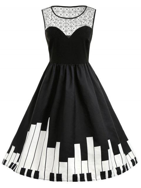 Plus Size Piano Print Flare Dress - BLACK 4X
