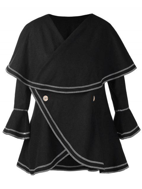 Plus Size Lace Up Flare Sleeves Buttons Overlay Coat - BLACK 1X