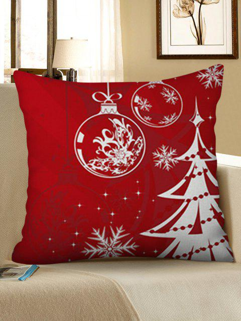 Snowflake Christmas Tree Pattern Linen Pillowcase - LAVA RED W18 X L18 INCH