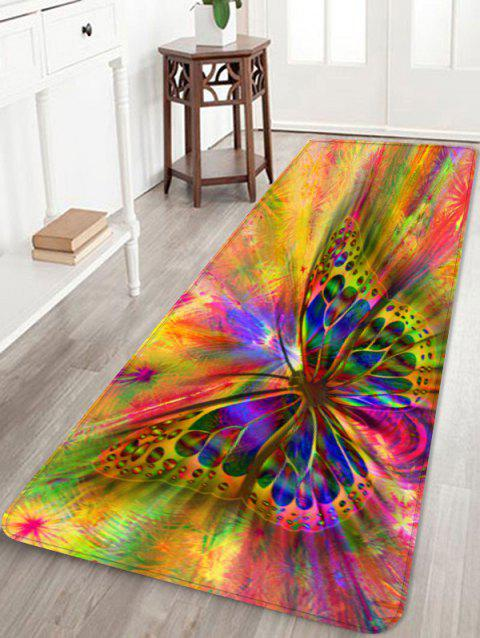 Colorful Butterfly Printed Antiskid Area Rug - multicolor W24 X L71 INCH