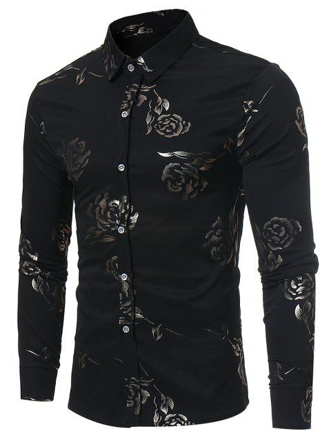 Casual Button Up Rose Print Shirt - BLACK M