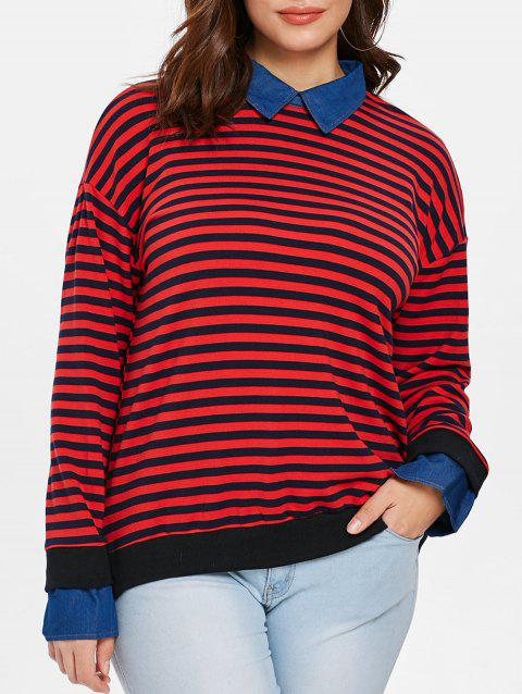 Plus Size Striped Twinset Sweater - RED L
