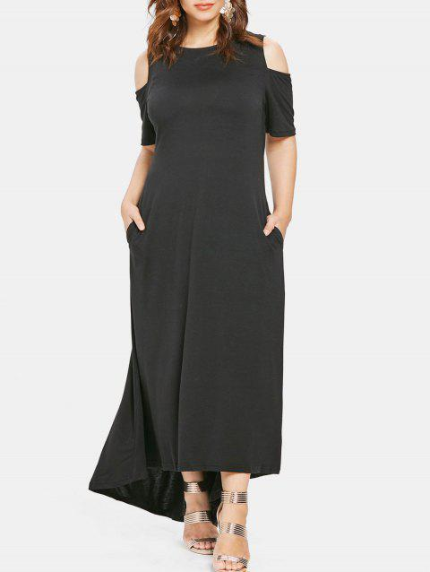 Open Shoulder Plus Size Round Neck Maxi Dress - BLACK 2X