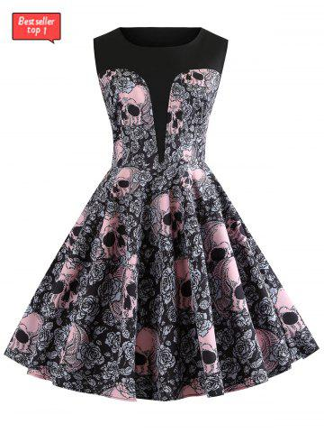 Dresses for women cheap cute womens dresses casual style online halloween round neck skull and floral print vintage dress mightylinksfo