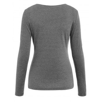 Long Sleeve Cut Out Front T-shirt - GRAY M
