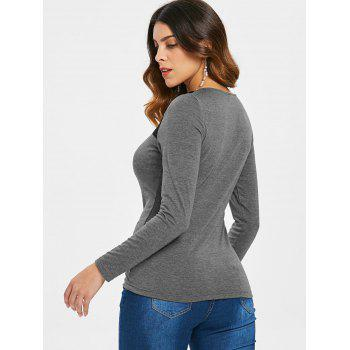 Long Sleeve Cut Out Front T-shirt - GRAY 2XL