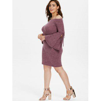 Plus Size Off The Shoulder Bodycon Mini Dress - PURPLE 5X