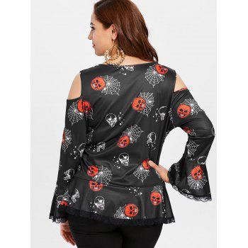 Plus Size Ruched Halloween Printed T-shirt - BLACK L