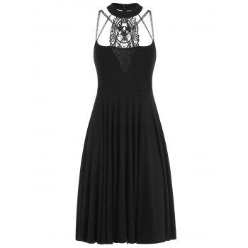Lace Trim Jewel Neck A Line Dress - BLACK M