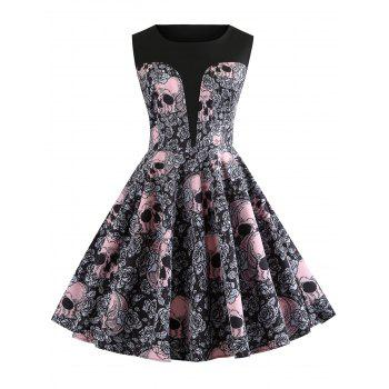 Halloween Round Neck Skull and Floral Print Vintage Dress - BLACK M