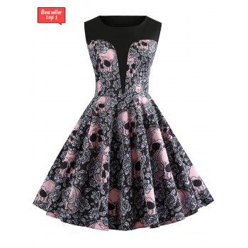 Halloween Round Neck Skull and Floral Print Vintage Dress