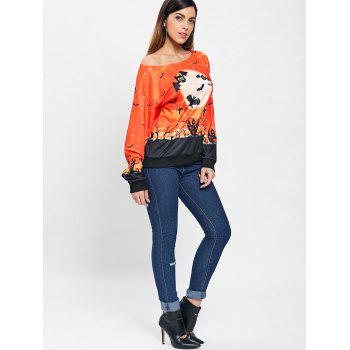 Sweat-shirt Halloween Nuit Imprimé - Orange S