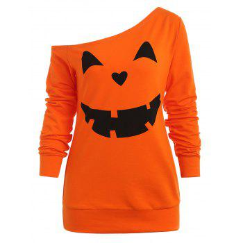 Sweat-shirt d'Halloween Citrouille à Col Oblique - Orange Foncé S