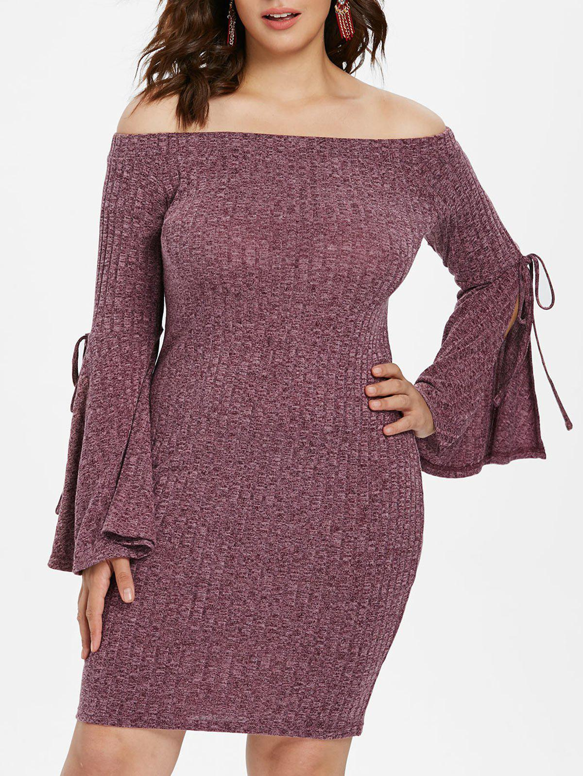 Plus Size Off The Shoulder Bodycon Mini Dress - PURPLE L