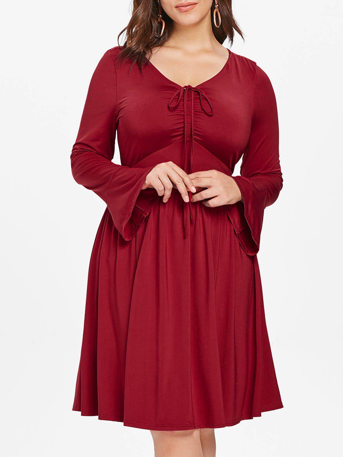 Plus Size Flare Sleeve High Waist Dress