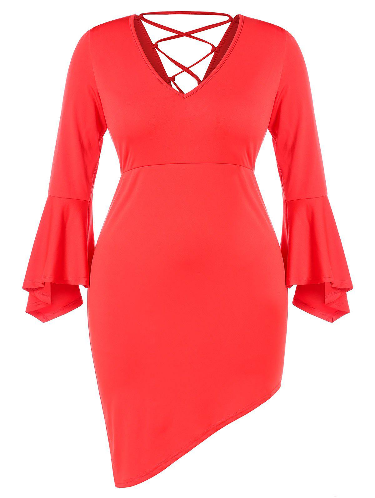 Plus Size V Neck Lace Up Bell Sleeves Asymmetric Dress - LOVE RED L