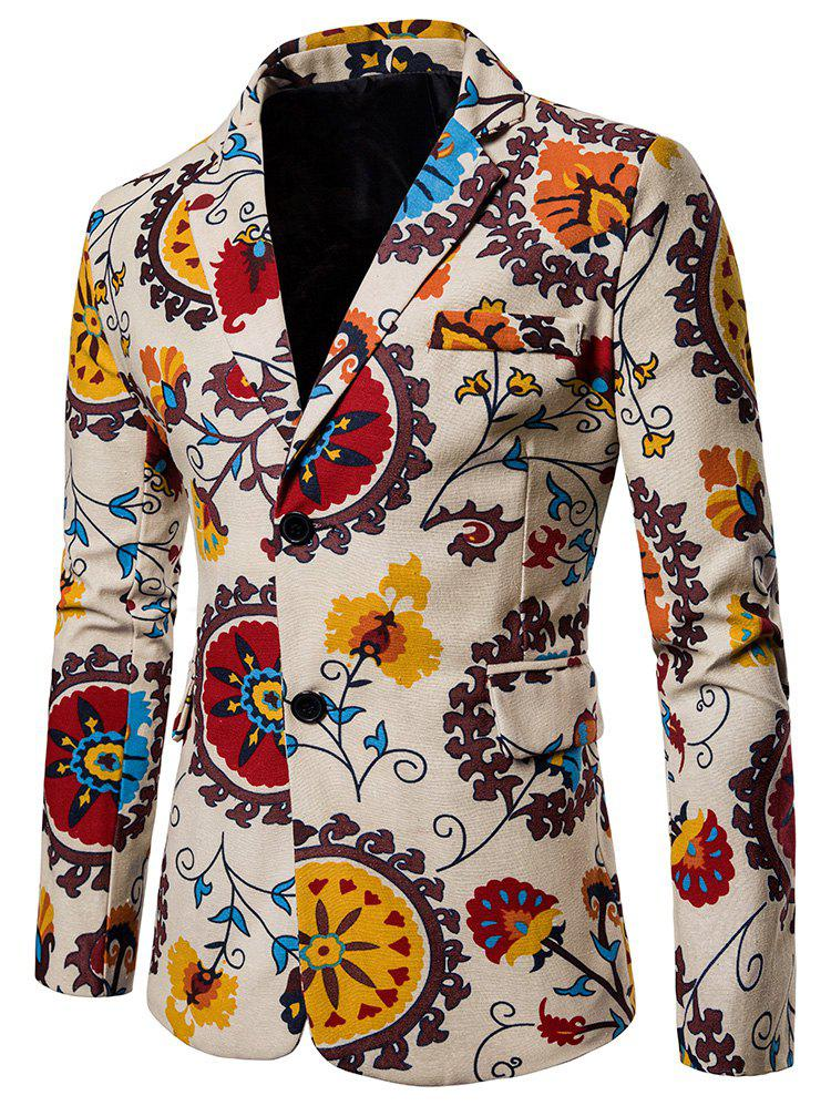 Floral Printed Casual Pockets Blazer - multicolor XL