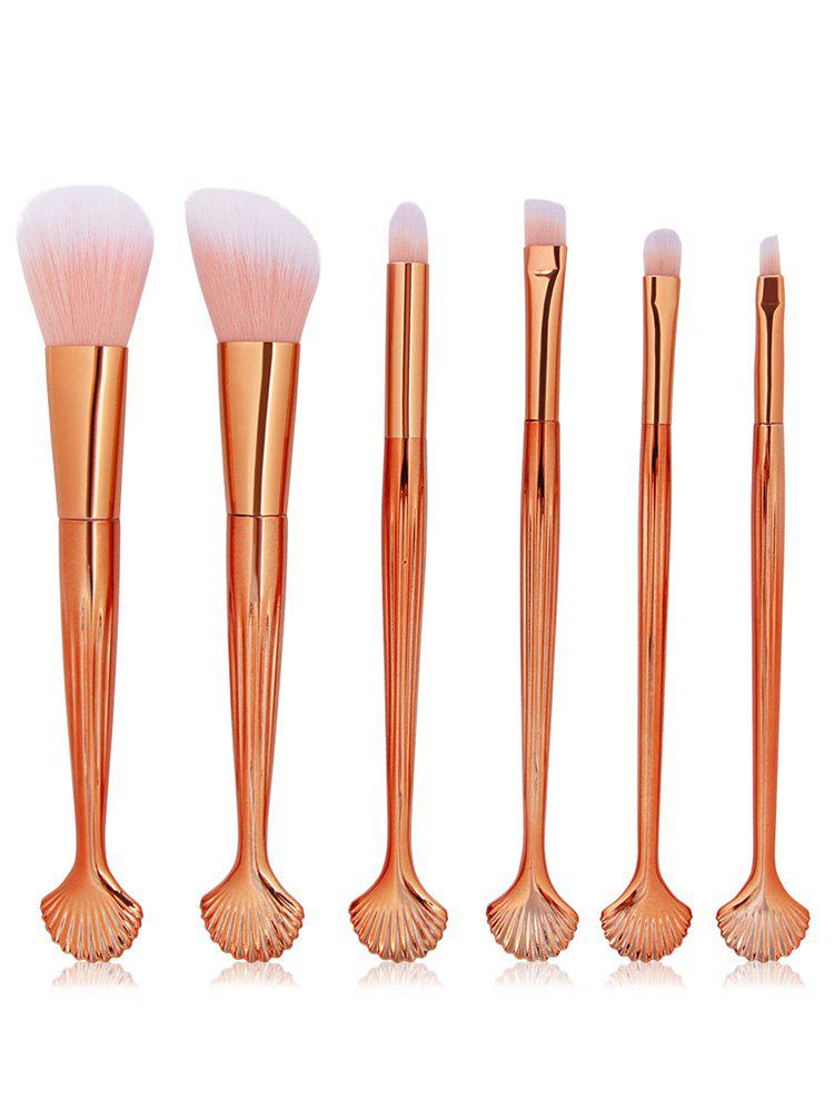 Professional 6Pcs Shell Shaped Blush Eyeshadow Eyebrow Cosmetic Brush Set - multicolor A