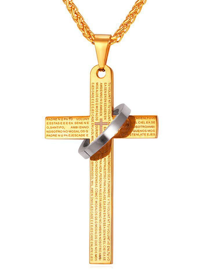2018 vintage cross ring pendant necklace gold in mens jewelry vintage cross ring pendant necklace gold aloadofball Images
