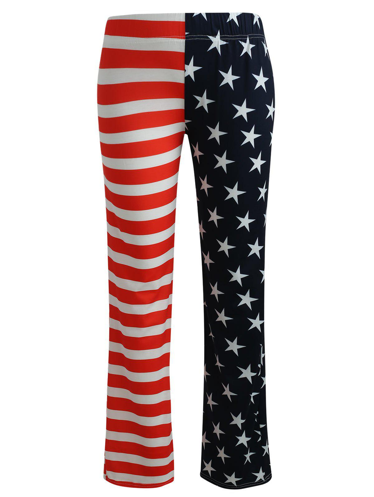 American Flag Print High Waist Pants - multicolor S