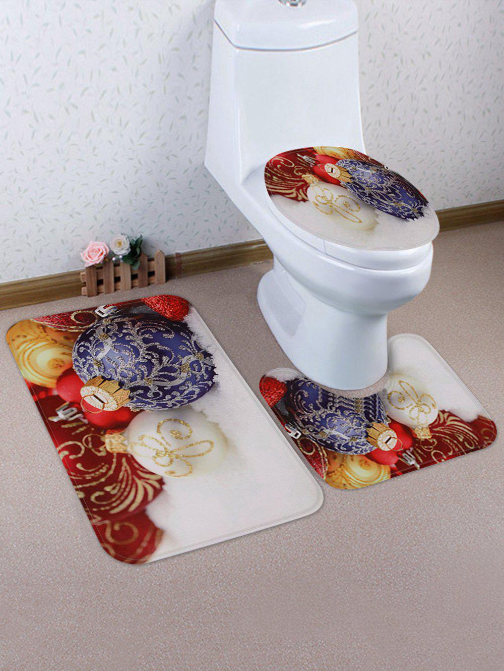 Christmas Baubles Printed Bath Toilet Rug Set - multicolor
