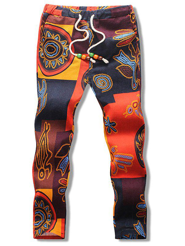 Drawstring Abstract Print Nine Minutes of Pants - multicolor M