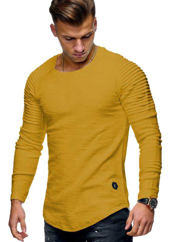 Solid Color Patch Detail Pleated Long Sleeve T-shirt - YELLOW M