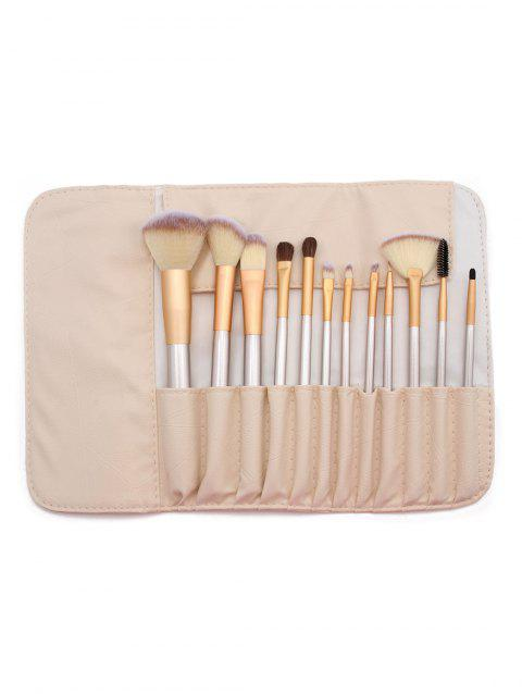 Cosmetic 12 Pcs Ultra Soft Travel Makeup Brush Set with Brush Bag - multicolor