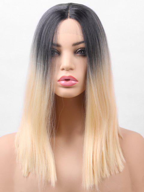 Center Parting Ombre Medium Straight Synthetic Lace Front Wig - multicolor 16INCH