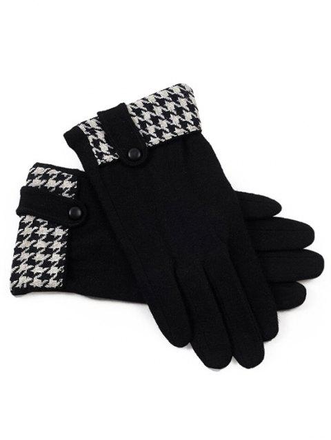 Vintage Houndstooth Pattern Full Finger Gloves - BLACK