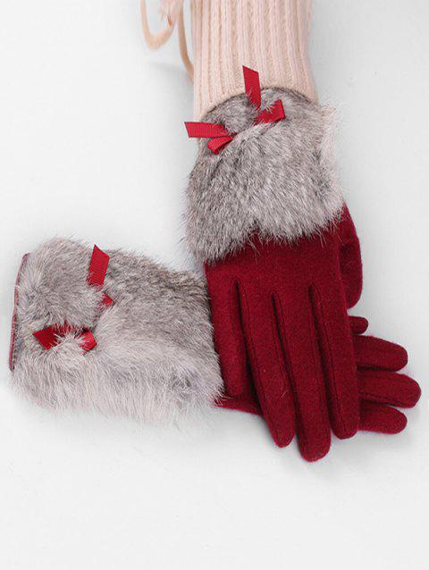 Vintage Bowknot Faux Fur Winter Gloves - RED WINE