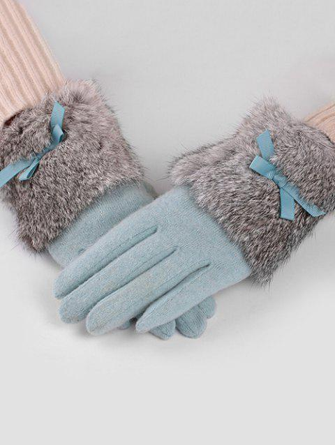 Vintage Bowknot Faux Fur Winter Gloves - LIGHT CYAN