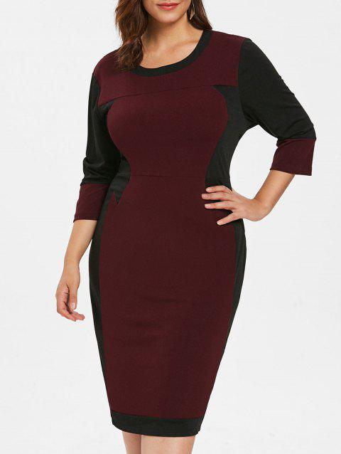 Plus Size Color Block Fitted Bodycon Dress - RED WINE 1X
