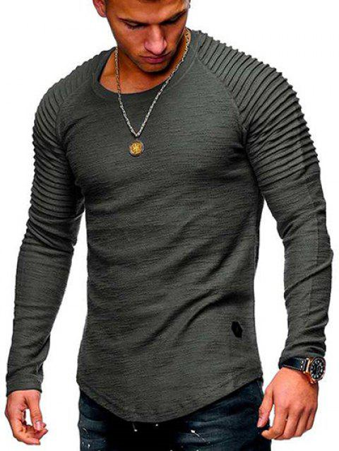 Solid Color Patch Detail Pleated Long Sleeve T-shirt - DARK GRAY S