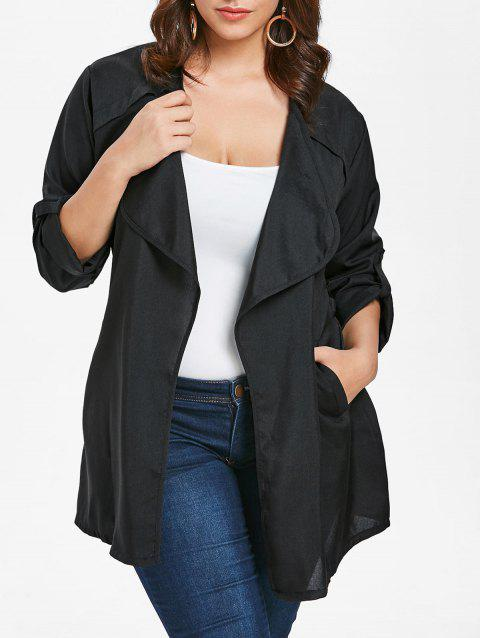 Plus Size Longline Lapel Coat - NIGHT 2X