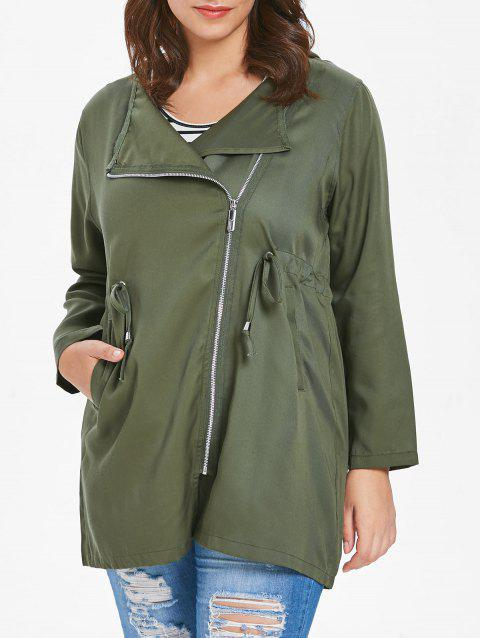 Plus Size Drawstring Oblique Zip Coat - ARMY GREEN 1X