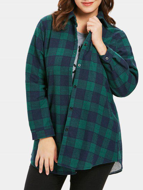 Plus Size Button Up Plaid Coat - GREEN 2X