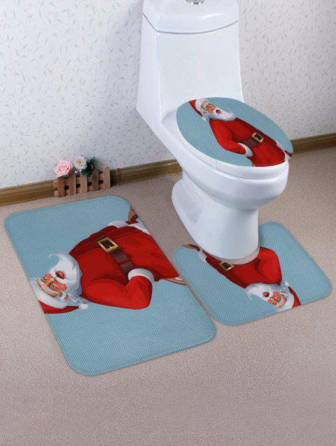 Santa Claus Print 3 Pcs Bathroom Toilet Mat - multicolor